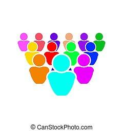 vecteur, propre, gens, il, illustration, foule, color., ton, normal, être, différent, tout