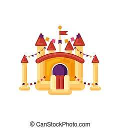vecteur, puéril, arrière-plan., rebondissant, cour de récréation, isolé, amusement, trampoline, blanc, jaune, château, jouet, élément, illustration, parc, divertissement, gonflable, enfants