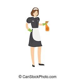 vecteur, pulvérisation, bonne, injection, plat, dessin animé, sourire, style., bottle., poser, illustration, cheveux brun