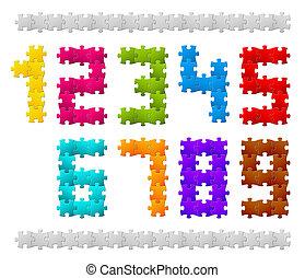 vecteur, puzzle, fait, nombres, morceaux