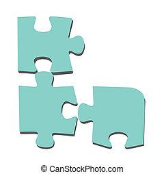 vecteur, puzzle, fond, blanc, illustration