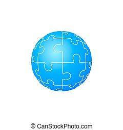 vecteur, puzzle, puzzle, circle., formulaire