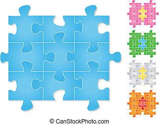 vecteur, puzzle, puzzle
