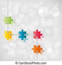 vecteur, puzzle, sentier, fond