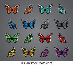 vecteur, réaliste, ensemble, coloré, butterflies.