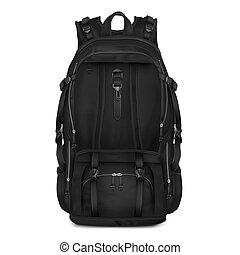 vecteur, réaliste, noir, sac à dos, pour, écoliers, étudiants, voyageurs, et, tourists.