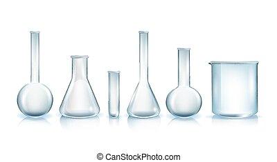 vecteur, réaliste, verrerie laboratoire, types