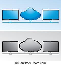 vecteur, réseau, nuage