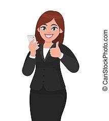 vecteur, réseau, smartphone, mobile, femme affaires, signe., haut, illustration, dessin animé, concept, pouces, tenue, social, app, technologie, style., geste, heureux
