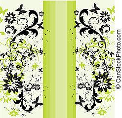 vecteur, résumé, élément, fond, stylique floral