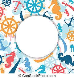 vecteur, résumé, éléments, fond, nautique