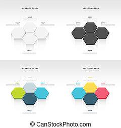 vecteur, résumé, 3d, hexagonal, papier, infographic, éléments, ensemble