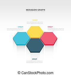 vecteur, résumé, 3d, hexagonal, papier, infographic, éléments