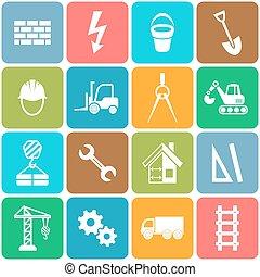 vecteur, résumé, construction, icônes