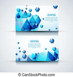 vecteur, résumé, créatif, cartes affaires, (set, template)