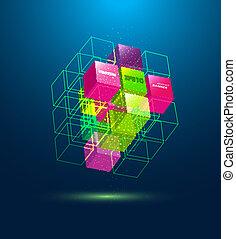 vecteur, résumé, cube