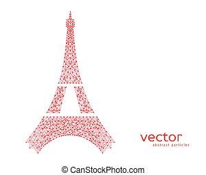 vecteur, résumé, eiffel, tower., illustration