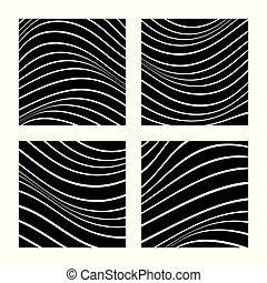 vecteur, résumé, ensemble, ondulé, noir, design., lines., blanc, illustration., 4, arrière-plans, minimaliste