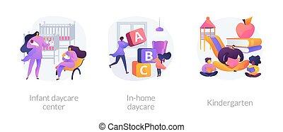 vecteur, résumé, illustrations., soin, enfant, concept