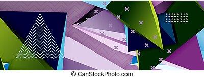 vecteur, résumé, lignes, triangulaire, formes, fond, gabarit, origami, futuriste, 3d