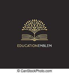 vecteur, résumé, logo, conception, gabarit, -, éducation...