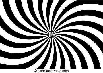 vecteur, résumé, modèle spirale, fond, tourbillonner, illustration, radial, noir, blanc