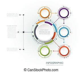 vecteur, résumé, papier, étiquette, molécules, circles., ...