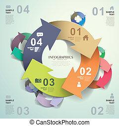 vecteur, résumé, papier, infographics, origami, 3d