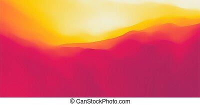 vecteur, résumé, terrain., dawn., désert, montagneux,...