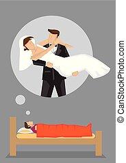 vecteur, rêve, dessin animé, illustration, mariage
