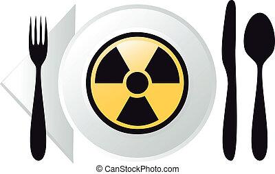 vecteur, radioactif, nourriture