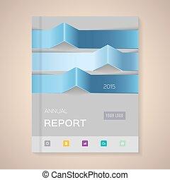 vecteur, rapport, couverture, illustration, annuel