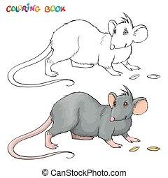 vecteur, rat., coloration, enfants, livre