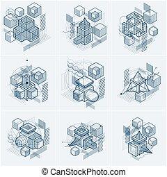 vecteur, rectangles, arrière-plans, revêtu, résumé, isométrique, abstractions., cubes, elements., set., différent, hexagones, linéaire, carrés