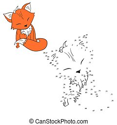 vecteur, renard, relier, points, jeu, illustration