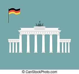 vecteur, repère, architecture, brandenburg, attraction, berlin., portail, illustration, germany., country.
