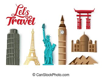 vecteur, repère, pays, voyage, aller, isolated., mondiale, laissons, repères, populaire, destination, tourisme, célèbre, set., typographie