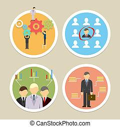 vecteur, ressources humaines, icônes
