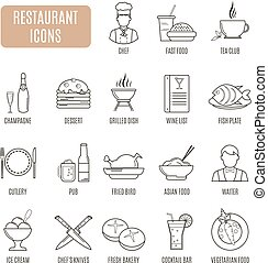 vecteur, restaurant, ensemble, icons., pictogramme