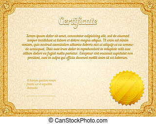 vecteur, retro, cadre, certificat, gabarit