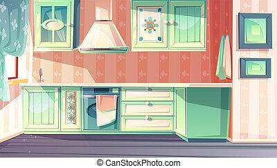 vecteur, retro, fond, intérieur, provence, cuisine