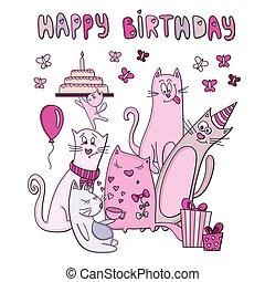 vecteur, rigolote, carte anniversaire, chat