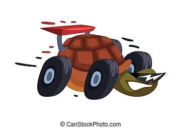 vecteur, rigolote, illustration, vitesse, booster, blanc, roues, animal, turbo, jeûne, brûler, arrière-plan., caractère, dessin animé, tortue