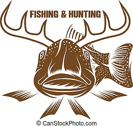 vecteur, rigolote, peche, fish, chasse, illustration, cornu