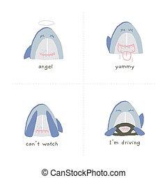 vecteur, rigolote, requin, sien, emoji., sourires, remettre ensemble, dessiné, tongue., spectacles