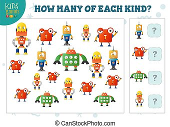 vecteur, robot, dénombrement, chaque, jeu, dessin animé, ...