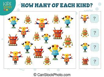 vecteur, robot, dénombrement, chaque, jeu, dessin animé, comment, gosses, illustration, espèce, beaucoup