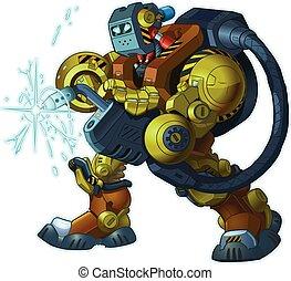 vecteur, robot, soudeur, dessin animé, humanoïde, illustration, mascotte
