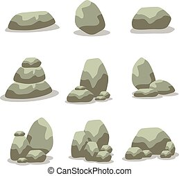 vecteur, rocher, ensemble, art, élément