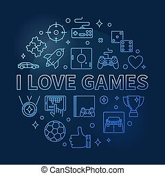 vecteur, rond, jeux, concept, bleu, amour, contour, illustration